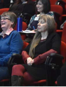 Rosi Crane, Lucy Sussex and Katherine Milburn (2nd row) enjoy the presentation.