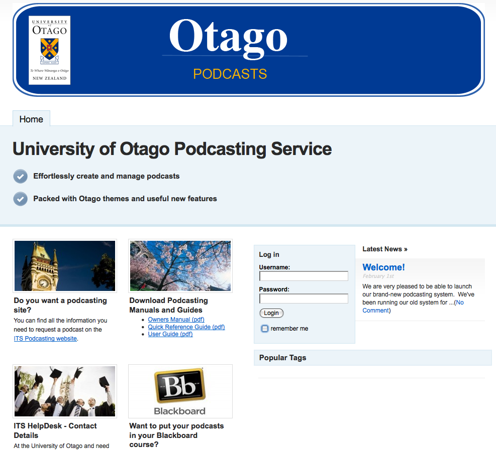 Front page of the new podcasting service