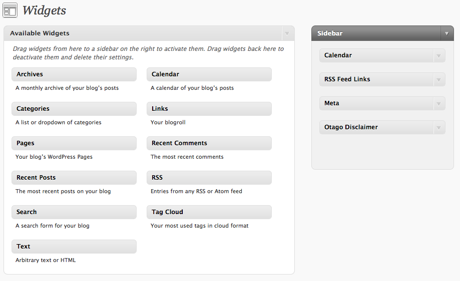 The widgets available in the new podcasting service