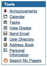 Search My Papers link in Blackboard's Tools menu