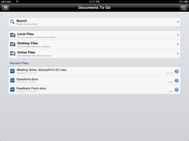 Documents to Go - files on my iPad