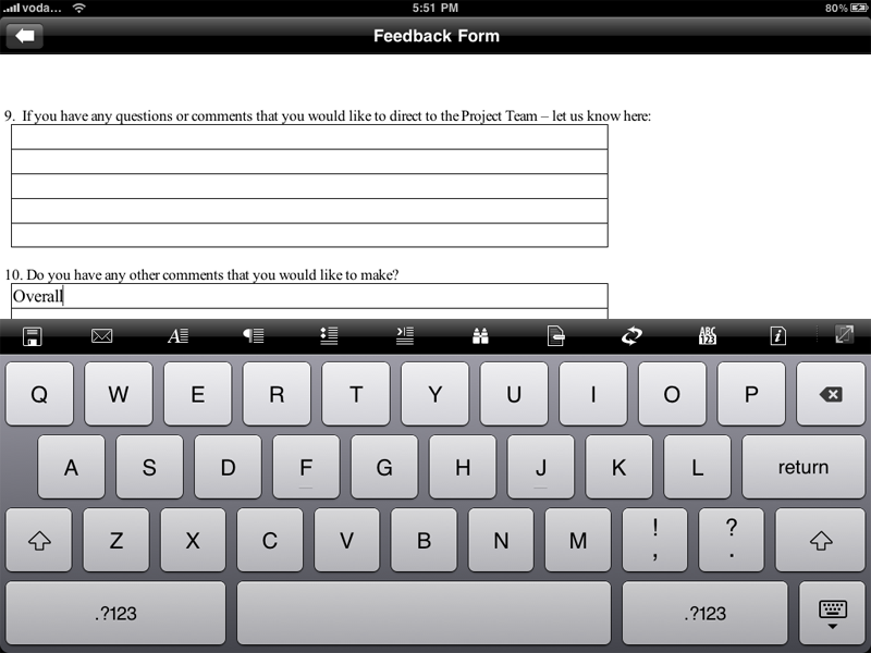 Documents to Go - entering text using the on-screen keyboard