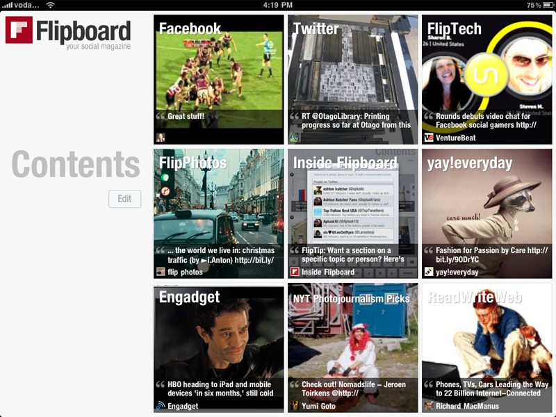 "Flipboard - displaying ""covers"" of my sources of information"