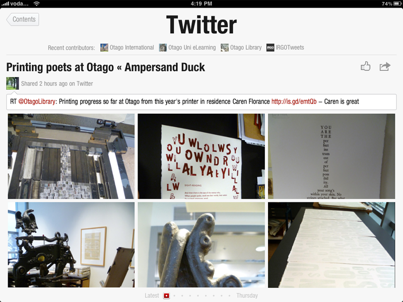 Flipboard - view of my Twitter subscriptions