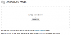 Screenshot of the Drag and Drop media uploader