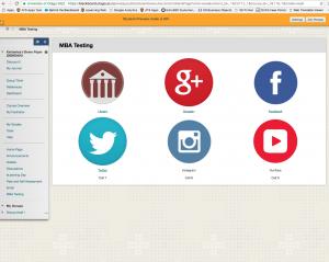 Screen shot of icon landing page in Blackboard