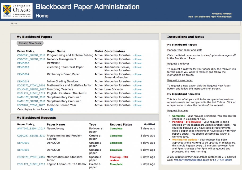 Screenshot of the Blackboard Paper Administration Application home page.