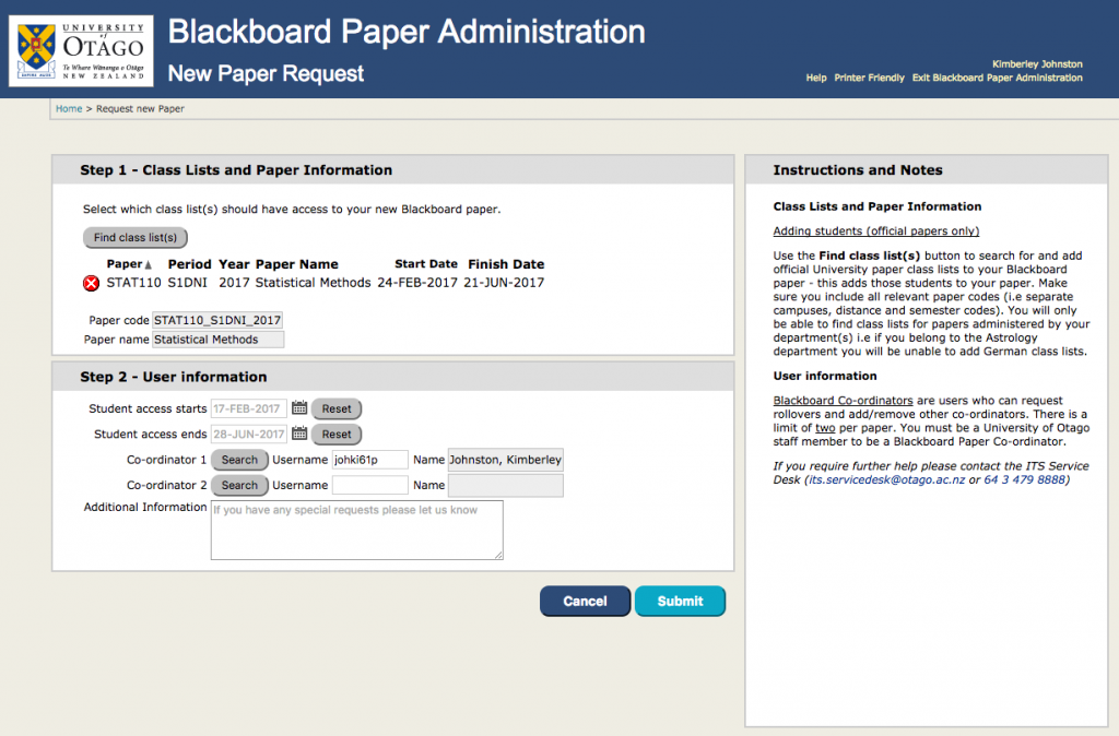 Screenshot of the new paper request screen from the Blackboard Paper Administration application.