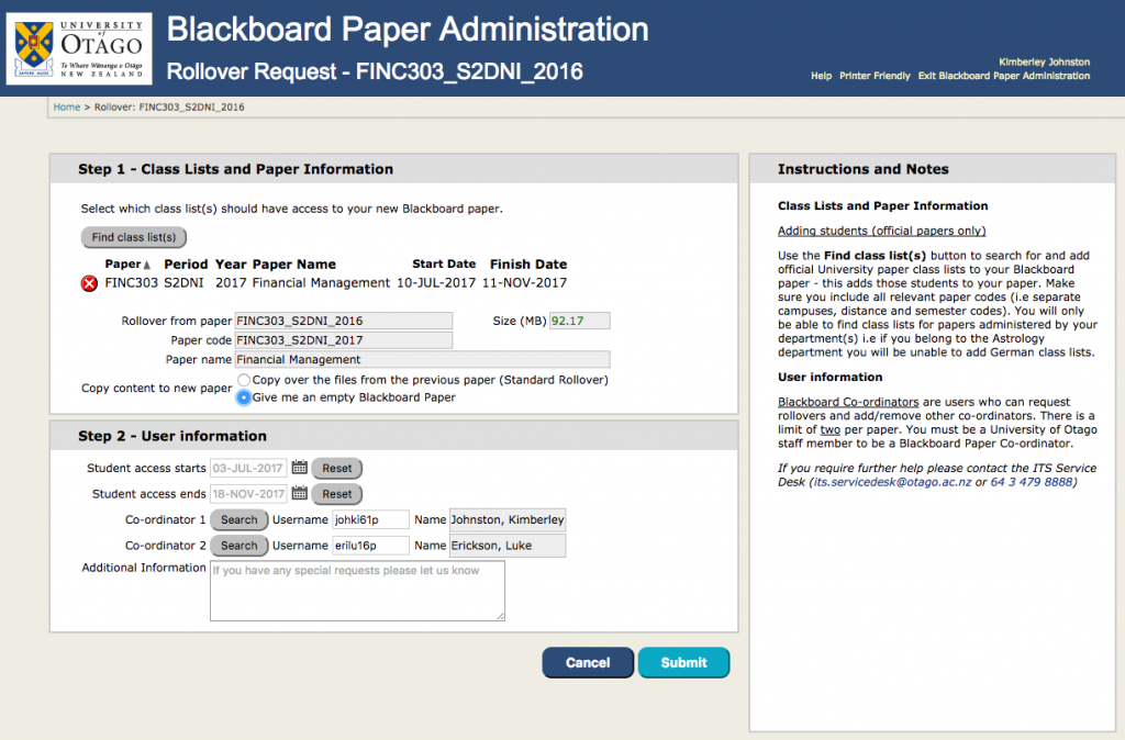 Screenshot of the rollover request page in the Blackboard Paper Administration application