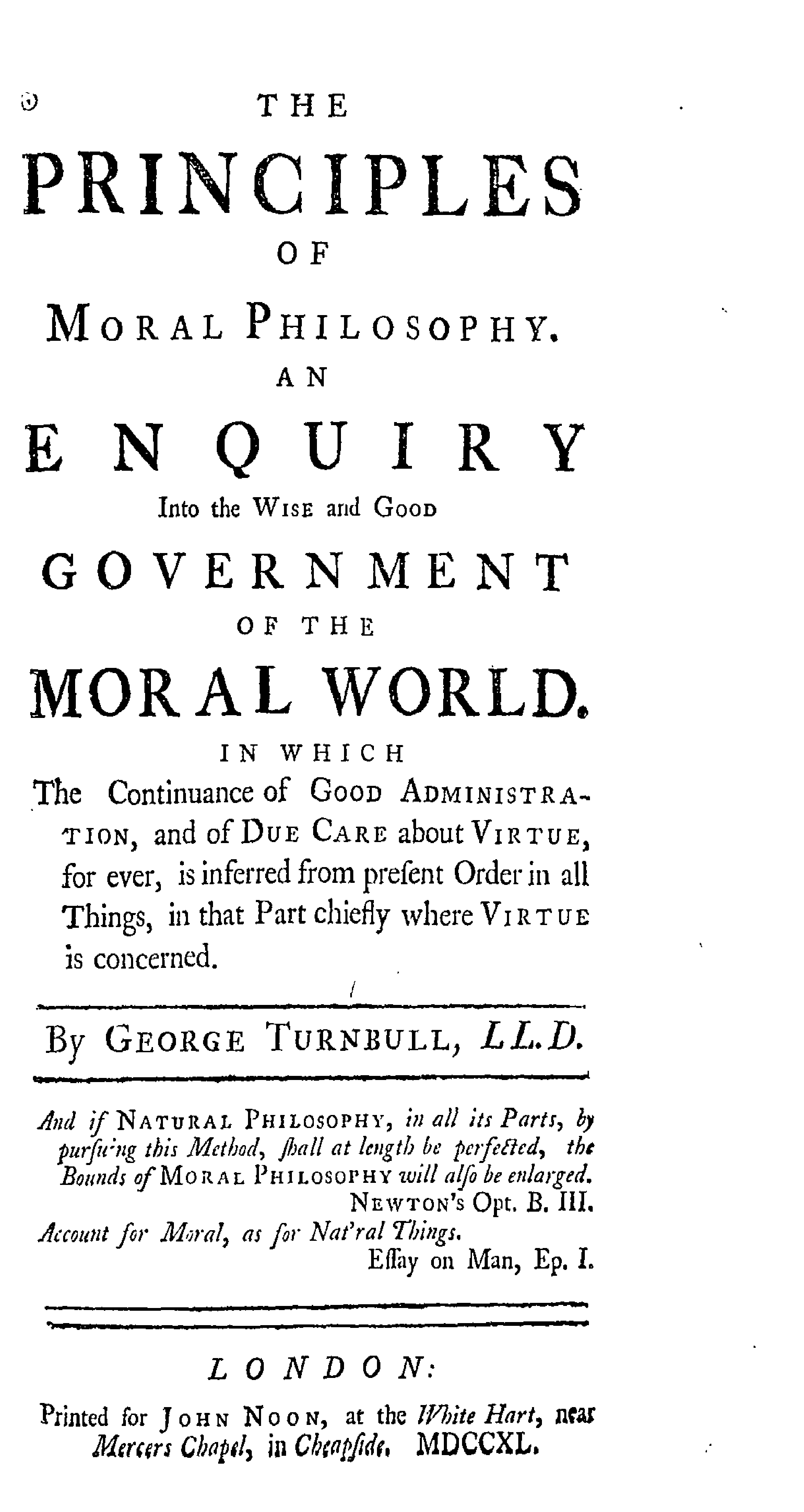 Turnbull's Principles of Moral Philosophy(1740)