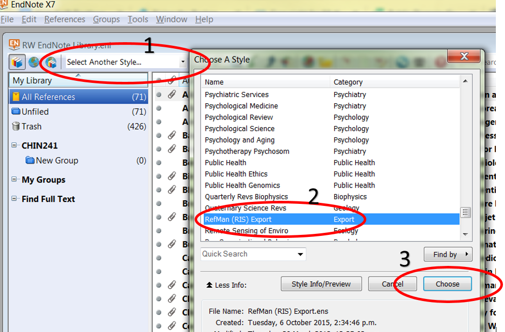 export to RIS from Endnote