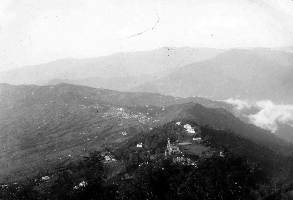 St Andrew's Colonial Homes (foreground) and Kalimpong township (background). Photograph taken by George Langmore in 1927, and kindly supplied by the Langmore family.