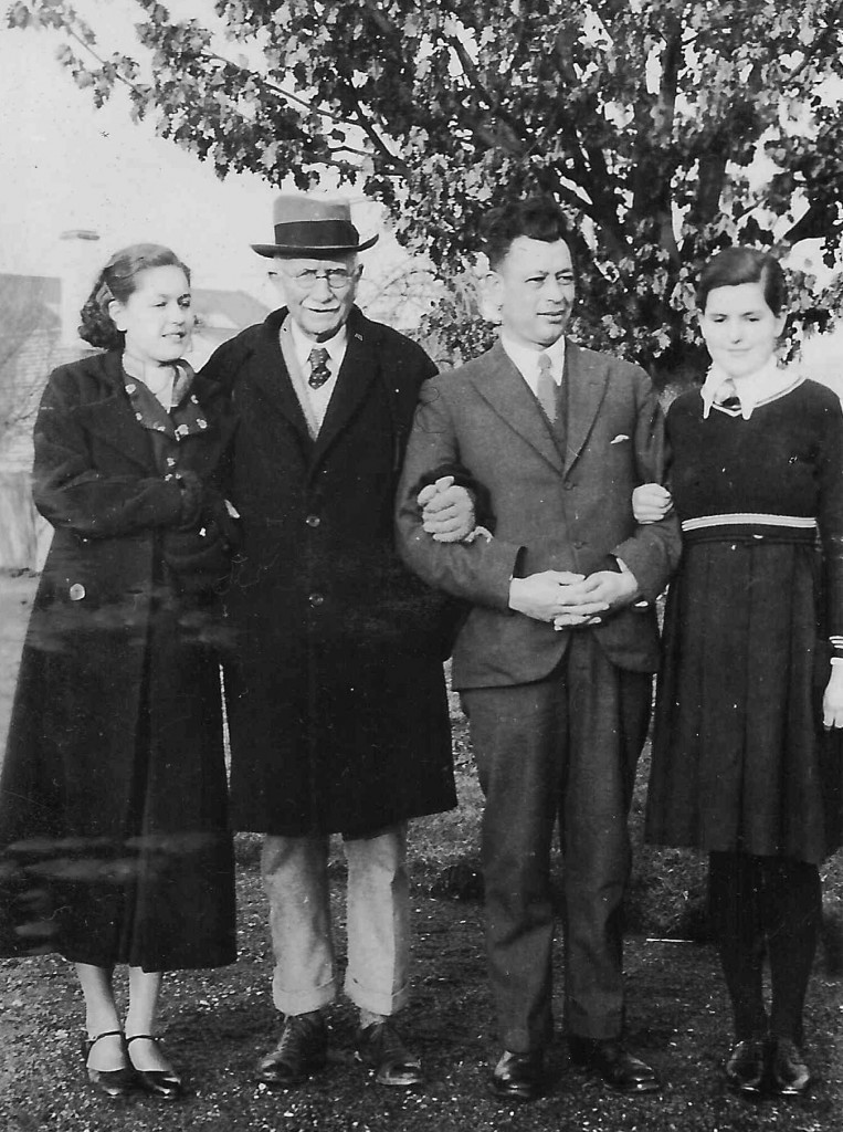 John Graham and George Langmore, with George's daughters, in 1937. Source: Langmore family archive.