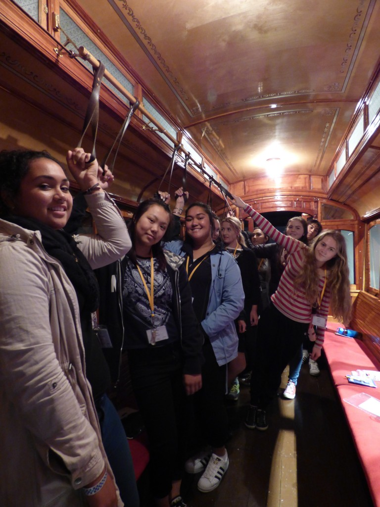 Hands-on students in the tram at Toitu Otago Settlers Musem