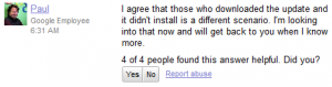Scrrenshot of the Google Mobile Help Forum post on the Nexus S OTA Update to ICS bug