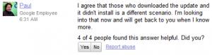 Scrrenshot of the Google Mobile Help Forum post on the Nexus S OTA Update to ICS bug