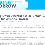 Picture of the webpage with the Samsung Galaxy S2 ICS Upgrade announcement