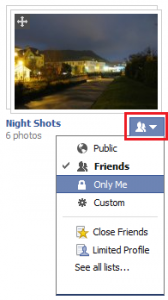 Picture of the Privacy Dropdown for Facebook Photo albums