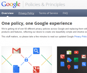 Screenshot of the Google Policies webpage