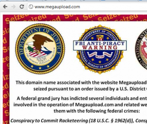 Screenshot of the takedown notice on megaupload.com