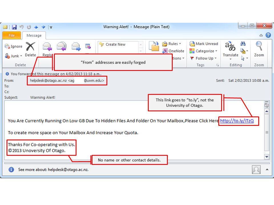 It security alerts phishing attack microsoft windows example.