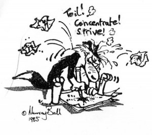 Cartoon of Footrot flats dog scribbling furiously