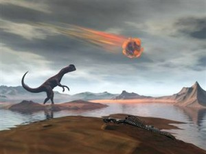Painting showing dinosaur in landscape and comet hurtling through sky above