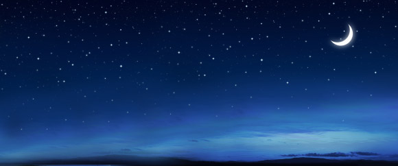 moonlit sky with stars