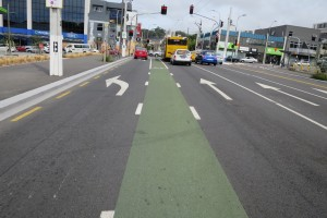 Figure 1 On-road cycle lane Wellington. Photo credit: Jenny Ombler