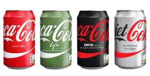 Varying levels of sugary Coca Cola drinks
