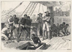Taking African slaves on board a slave ship Date: circa 1830