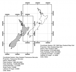 Comparison between projections used in New Zealand. One grid shows NZMG, while the other shows NZTM