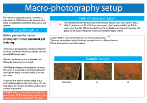 Guidelines for use of the macro-photography setup.