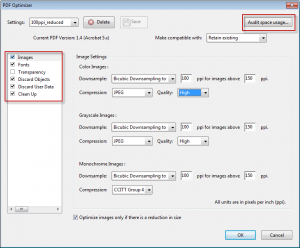 Pdf optimiser options