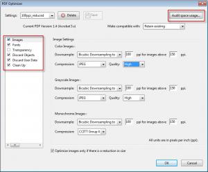 Pdf optimiser options