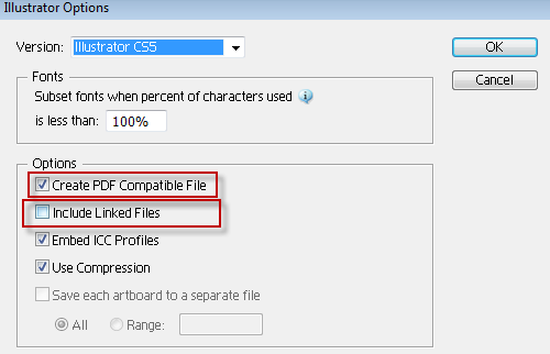Adobe illustrator: Ai, pdf, linking, embedding and saving