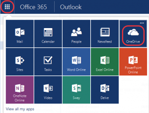 "Screenshot showing the ""9 squares"" menu containing the OneDrive icon"