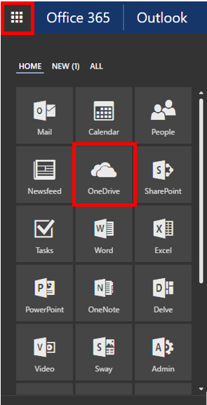 Webmail OneDrive options