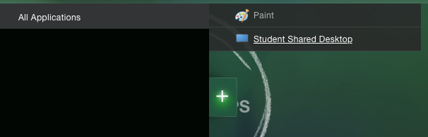 Screenshot showing the menu under the plus sign to choose all applications and student shared desktop
