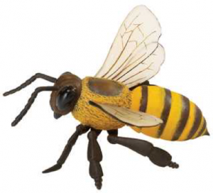 Photo of a large, plastic, toy honeybee.