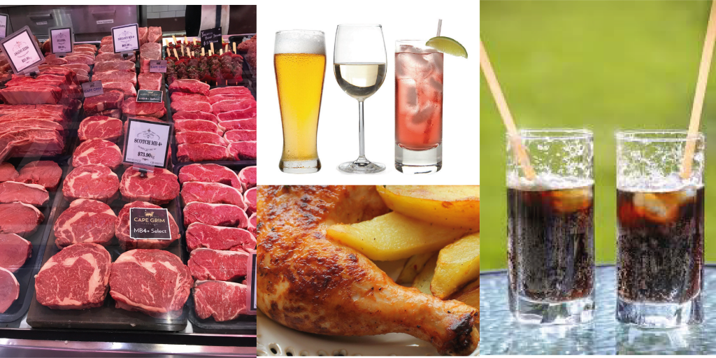 Photos of raw red meat, beer, wine, liquor, soft drinks, and chips with chicken drumsticks.