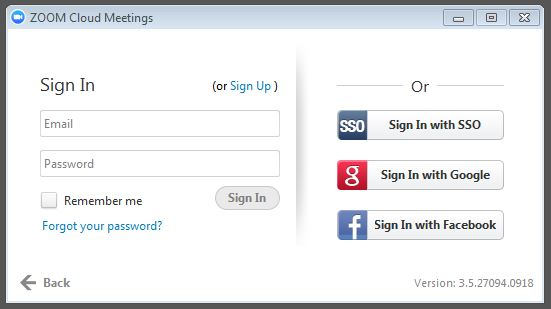 Facebook desktop sign in